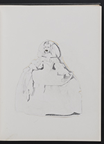 [Sketchbook of variations on the painting Infanta Margaret Teresa in a pink dress page 4]