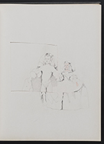 [Sketchbook of variations on the painting Infanta Margaret Teresa in a pink dress page 7]