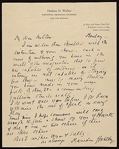 [Marsden Hartley, New York, N.Y. letter to Milton Avery]