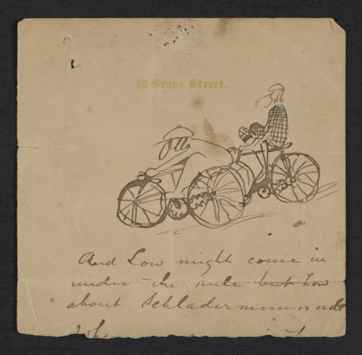 [Sketch of Otto Bacher and Robert Blum on bicycles]