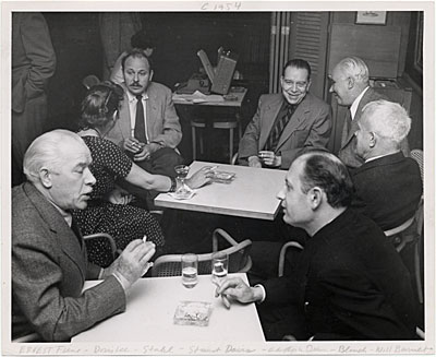 Meeting of the Famous Artists' School, Westport, Connecticut. Clockwise from lower left: Ernest Fiene, Doris Lee, Ben Stahl, Stuart Davis, Adolf Dehn, Arnold Blanch, and Will Barnet