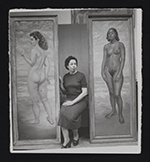 Macena Barton with two of her paintings