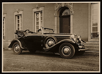 Rudolf Bauer in his 1930 Graham-Paige automobile.