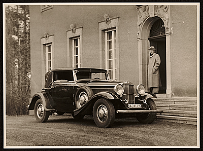 [Rudolf Bauer and his 1930 Graham-Paige automobile]