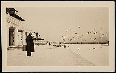 Rudolf Bauer on a beach