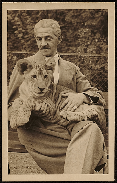 Rudolf Bauer with a lion cub in his lap
