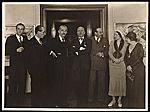 Rudolf Bauer and Filippo Tommaso Marinetti with other unidentified men and women