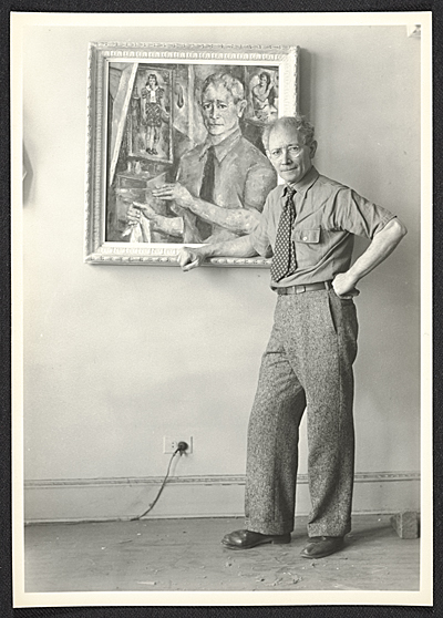 A. S. Baylinson with self-portrait painting