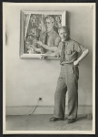 [A. S. Baylinson with self-portrait painting 2]