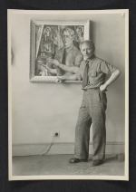 [A. S. Baylinson with self-portrait painting 4]