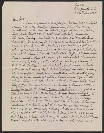 Robert Burns Motherwell letter to William Baziotes