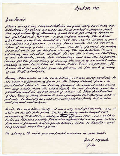 [Jacob Lawrence letter to Romare Bearden]