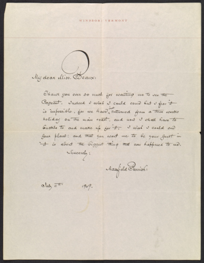 Maxfield Parrish letter to Cecilia Beaux