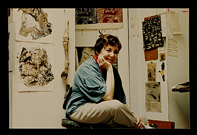 [Miriam Beerman in her studio]