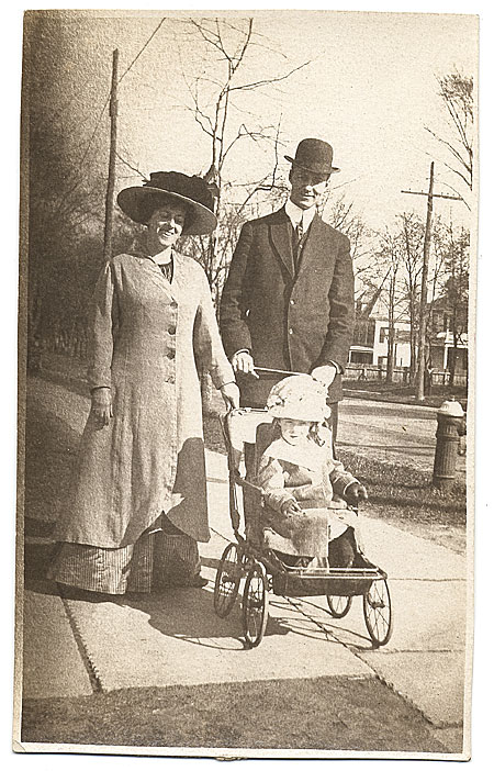 Gerrit Beneker with wife and toddler, outdoors, Arlington, New Jersey