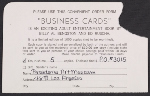 Order form for Business Cards, 1968; Pasadena Art Museum
