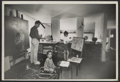 David Berger and family in his home studio