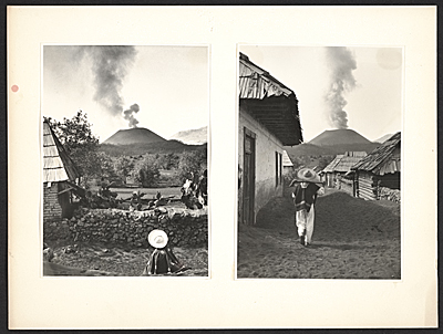 Two views of a smoking volcano as seen from a Mexican village