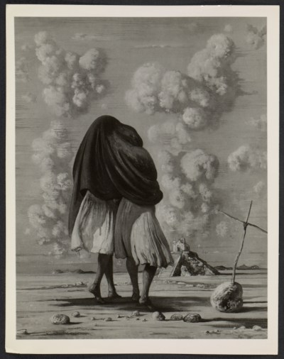 [Reproduction of a painting by Eugene Berman of two girls under a rebozo]