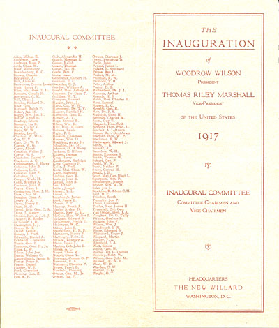 Inauguration of President Woodrow Wilson, and Vice-President Thomas Riley Marshall