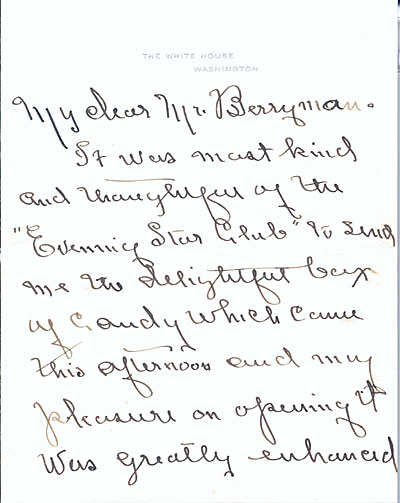 [Edith Bolling Wilson letter to Clifford Berryman]