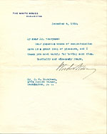 Woodrow Wilson letter to Clifford Berryman