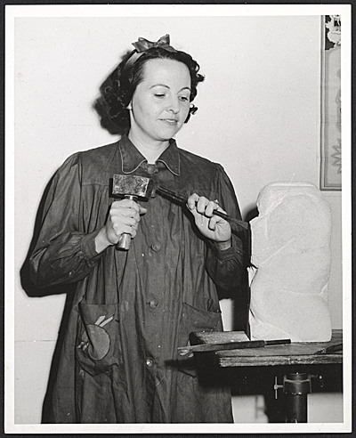 Bernice West Beyers at work on a sculpture