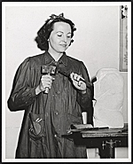 [Bernice West Beyers at work on a sculpture]