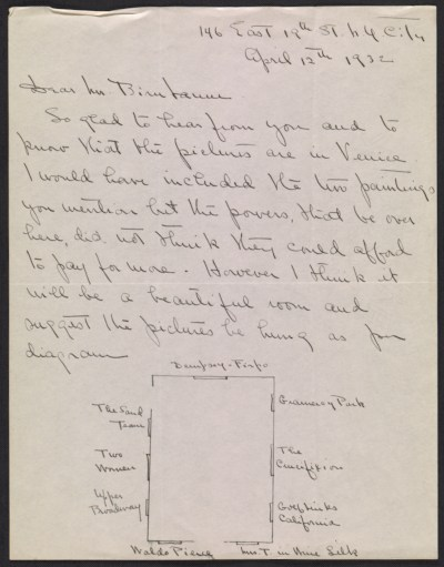 George Bellows letter to Martin Birnbaum