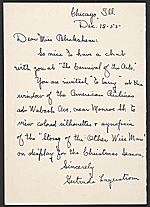 [Gertrude Lagerstrom, Chicago, Ill. christmas card to Kathleen Blackshear verso 1]