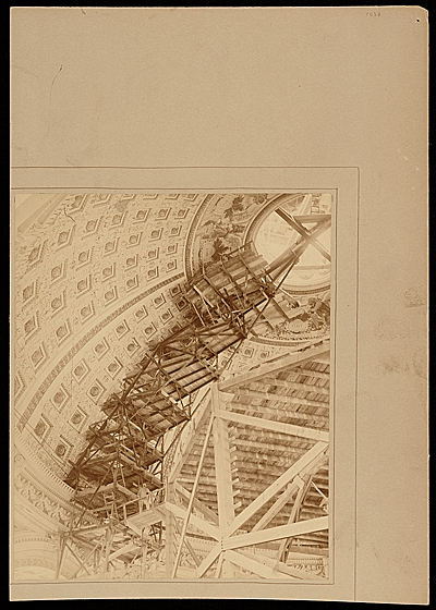 Edwin H. Blashfield working on The Traveler at the Library of Congress, Washington, D.C.