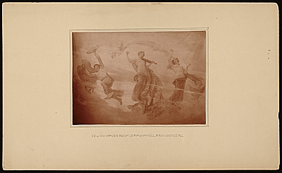 Allegory ceiling mural in the music room of the Gammell house by Edwin H. Blashfield