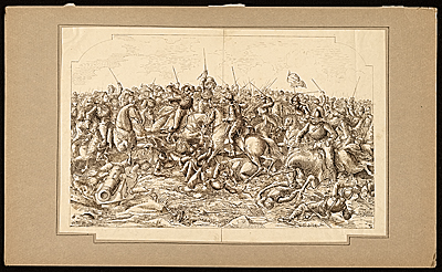 Drawing of a battle scene
