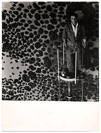 [Yves Klein creating a mural in Germany]