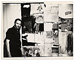 Robert Rauschenberg with his painting Wager