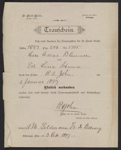 [Oscar Bluemner marriage certificate]