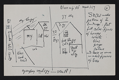 Oscar Bluemner notes and diagram for a landscape painting of Bloomfield