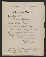 [Oscar Bluemner marriage certificate ]