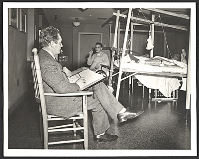 [Peter Blume sketching patients at Halloran General Hospital in Staten Island]
