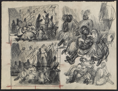 Multiple studies for Recollection of the flood by Peter Blume