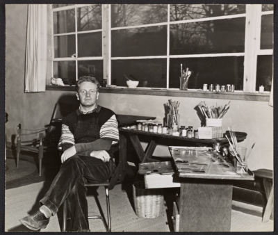 Peter Blume in his studio in Sherman, Connecticut