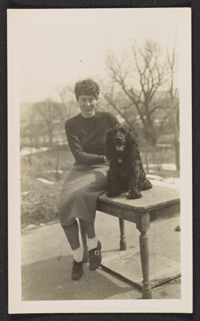 [Grace Douglas (Ebie) Blume and her dog]