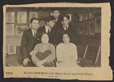 Peter Blume and classmates, including Elias Newman and Moses Soyer, at the Educational Alliance