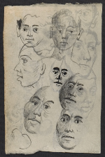 [Drawing of heads (#DHD ND-60) verso 1]