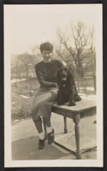 [Grace Douglas (Ebie) Blume and her dog ]