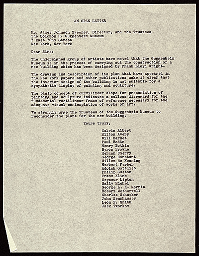 Artists' protest letter  to James Johnson Sweeney, New York, N.Y.