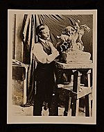 Solon Borglum working on a sculpture