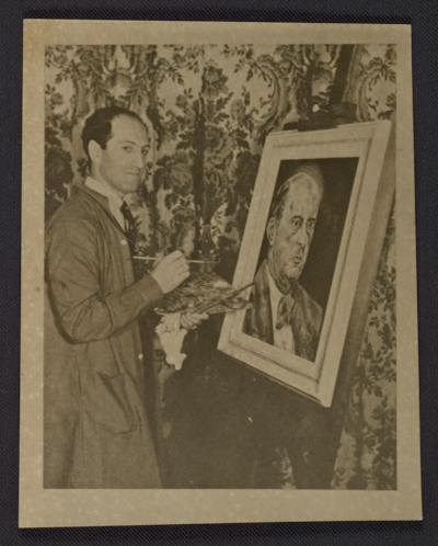 [George Gershwin painting portrait of Arnold Schoenberg]