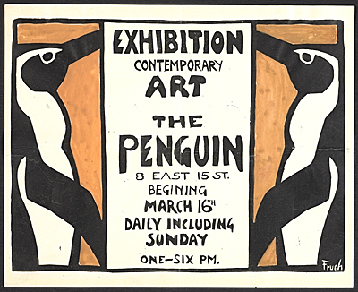 Exhibition announcement for a show of contemporary art at the Penguin club