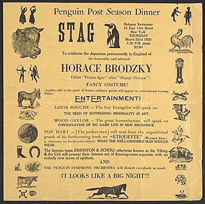[Flyer for a stag party given by the Penguin Club honoring Horace Brodzky]